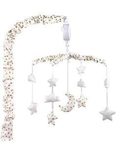 Gold and White Musical Mobile With Moon, Clouds and Stars by The Peanut Shell ❤ Farallon Brands
