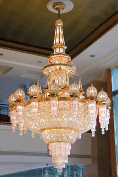 Ceiling Lights & Fans Custom Gold Chandeliers Modern Upscale Hotel Lobby Hallway Lights Bedroom Lamp Large Crystal Lamp 230cm W X 280cm H Chandeliers