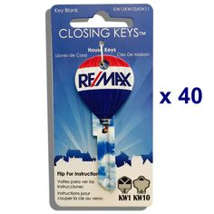 40 pcs. RE/MAX Hot Air Balloon Shaped Closing Keys - Basic RE/MAX finish, Hot air balloon shape, we keep these in stock. Never sell a house without including at least two of these beautiful keys for y                                                                                                                                                      More