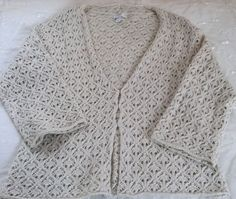 Charter Club XL Ivory Long Sleeve Crochet Knit Sweater Cardigan Bell Sleeves  #CharterClub #Cardigan #Christmas