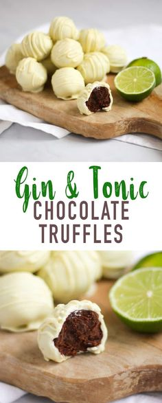 Gin and Tonic Truffles - the perfect homemade Christmas gift. Ideal for a gin or chocolate lover in your life! Gin and Tonic Truffles - the perfect homemade Christmas gift. Ideal for a gin or chocolate lover in your life! Gin Tonic, Gin And Tonic Cake, Gin And Tonic Gifts, New Year's Desserts, Dessert Recipes, Plated Desserts, Beste Cocktails, Truffle Recipe, Desert Recipes