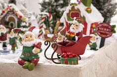 "Darling Little Christmas Santa sleigh These look so cute in your Fairy Garden Measure 3"", made of resin. Perfect gift for the Fairy Gardener or Fairy lover! Purchase our Gnome Santas to sit inside! Ch"
