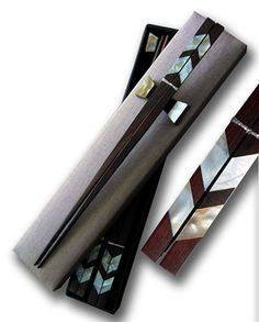 Handmade rosewood chopstick with mother of pearl inlaid and horn rest