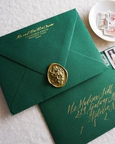 When you have a bride-to-be having an eyeball for design a Christmastime wedding party, it creates a stationer like me the happiest! 🌲✨ Gold foil-stamped return address, gold calligraphy addressing, emerald green envelopes, gold wax seal Wedding Rehearsal, Wedding Ceremony, Wedding Venues, Wedding Rings, Wedding Shoes, Wedding Ideas, Gold Wedding, Wedding Dresses, Diy Wedding