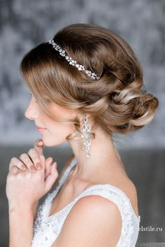 elegant updo wedding hairstyles with crystal bridal headpieces