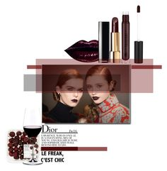 """""""Black Cherry/Red wine. Dior FW16 inspired look"""" by lajudy ❤ liked on Polyvore featuring beauty, Chanel, Riedel and darklips"""