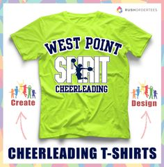 Cheerleading custom t-shirt design idea! Create custom cheerleading shirts for your squad, school or team! www.rushordertees.com #CheerleadingShirts