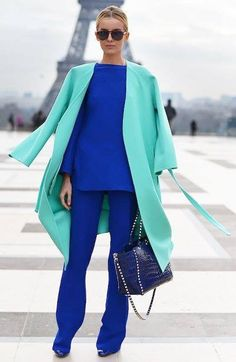 Color Blocking Outfits, Colour Blocking Fashion, Look Fashion, Trendy Fashion, Womens Fashion, Fashion Design, Fashion Trends, Blue Fashion, Fashion Tips