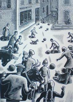 """""""Footballs in the Street"""". Gwenda Morgan (1908 - 1991) Wood engraving"""