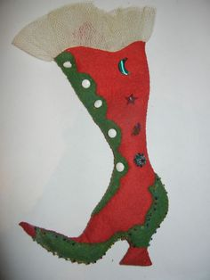 Vintage Bead and Button  Boot Shaped Pin Cushion ~Felt and Net ~