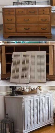 Old Dresser Makeover with Shutters. #builddresserawesome