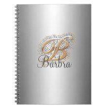 Silver elegant diamonds monogram Notebook