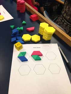Fraction Game: Student roll dice with fractions of 1/6, 1/3, 1/2,1. The goal of the game is to fill the hexagon on the pattern block worsheet. You can also use two dice add the fractions and put the appropriate piece on the board