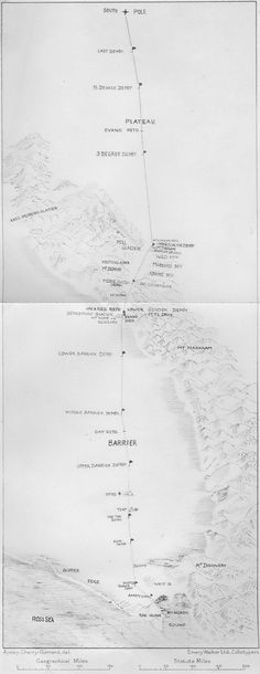 Map of the route of the Terra Nova Expedition, 1910-1913, in which Robert Scott was beaten to the South Pole by Roald Amundsen by 33 days. Scott's entire party died on the return journey.