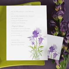 Watercolors - Hydrangea  A delicate floral watercolor highlights this non-folding invitation on bright white paper. Imprint color and flush left format as shown. Non-folding reception and respond cards.