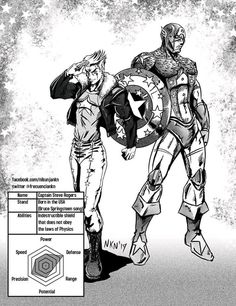 """Captain Steve Rogers was lost at sea after fighting a terrorist organization of Aztec Nazi Vampires leaded by the Red Skars, who had killed his best fr. Steve Rogers Born in the USA Jojo's Bizarre Adventure Stands, Jojo Bizzare Adventure, Fan Made Stands, Dragon Rey, Jojo Stands, Character Art, Character Design, Jojo's Adventure, Monster Prom"