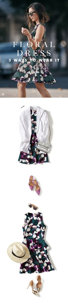 Honey & Silk's Stephanie Liu @honeynsilk, shows us why this floral dress from Banana Republic is her spring Closet VIP. Topped with a crisp white jacket for a chic street style look, this bold abstract floral is ready to take on any date night. Or for casual daytime events, just add pale sunglasses and a fedora to play up its breezy feel.  For work, weekends and everything in between, spring fashion is all about the dress. See more of Stephanie's style by clicking here.