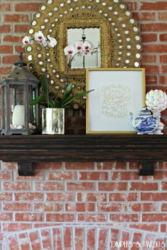 Summer Home Tour || Mantle Styling || Come Thou Fount by Lindsay Letters || Blue and White || Peacock Mirror || Brick Fireplace || Orchid || Mercury Glass