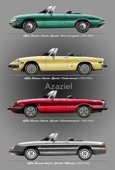 'Alfa Romeo Evolution of Duetto Spider' Art Print by Azaziel – Classic Cars Alfa Romeo Gtv 2000, Alfa Romeo Giulia, Alfa Romeo Cars, Alfa Romeo Spider, Maserati, Ferrari, Lamborghini, Evolution, Convertible