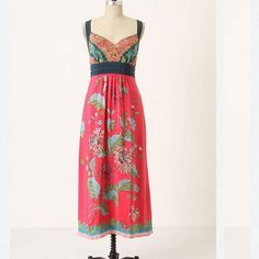 Anthropologie Equinox Calling Dress Silk ankle length maxi dress in gorgeous tropical floral print. cross back side zip and pockets. Cinched at high waist Anthropologie Dresses