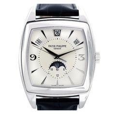 Patek Philippe White Gondolo Calendario Gold Wristwatch Ref 5135G | From a unique collection of vintage wrist watches at https://www.1stdibs.com/jewelry/watches/wrist-watches/