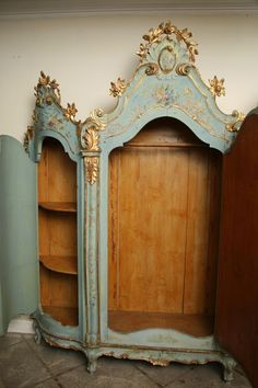 Vintage Furniture Century Venetian Painted Armoire image 7 - century venitian armoire with three doors in blue and gilt. (break down in seven pieces) Painting Wooden Furniture, Painted Bedroom Furniture, Shabby Chic Furniture, Rustic Furniture, Vintage Furniture, Living Room Furniture, Modern Furniture, Outdoor Furniture, Vintage Dressers