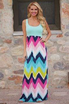 Neon Lights Maxi Dress - Mint (S to 1XL) from Closet Candy Boutique