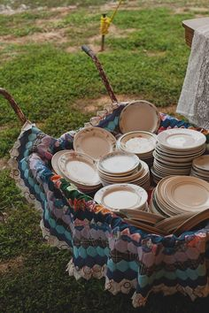 wheelbarrow + quilt, and mixed china- for a buffet