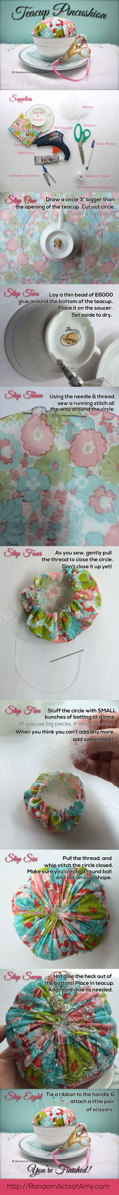 Teacup pincushion tutorial. We used crushed walnut shells or wool stuffing for a filler.