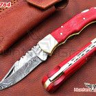 Damascus handmade folding hunting knife,liner lock, paka wood handle