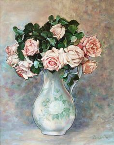 Roses by Dobriela Koeba. Selling Art, Flowers Nature, Contemporary Artists, Fine Art Paper, Art For Sale, Original Paintings, Rose Paintings, Pretty In Pink, Find Art