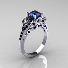 Classic 10K White Gold 1.0 CT Russian Alexandrite Black Diamond Solitaire Wedding Ring R203-10KWGBDAL on Wanelo