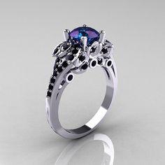 Classic 10K White Gold 1.0 CT Russian Alexandrite Black Diamond Solitaire Wedding Ring R203-10KWGBDAL on Wanelo