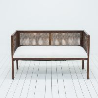 Mid-Century Modern Settee | African Mud Cloth Upholstery | Birch & Brass Vintage Rentals | Weddings and Corporate Events | Austin, Texas