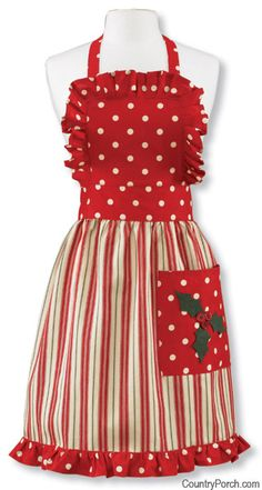 Holly Dots Christmas Apron, I really think I would look cute in this....