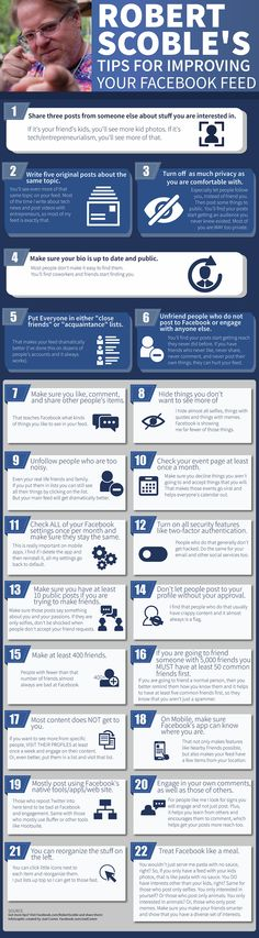 Robert Scoble's 22 Tips for Improving Your Facebook Feed infographic