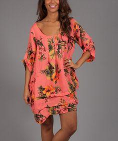 Coral & Yellow Floral Alia Linen Scoop Neck Dress