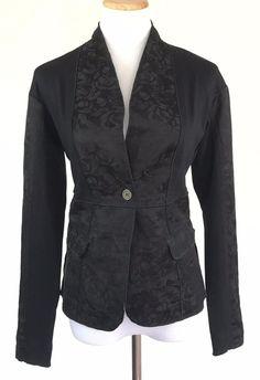 I'M Isola Marras $390 Black Jacquard 1-Button Blazer Jacket Stretch New Size 32 #IMIsolaMarras #BasicJacket