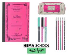 Stylos, cahier, trousse, crayons