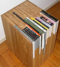 Custom order a nightstand with the exact right specifications for the books you want in it - brilliant