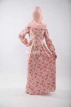 Мусульманское платье из хлопка Розовое с цветами