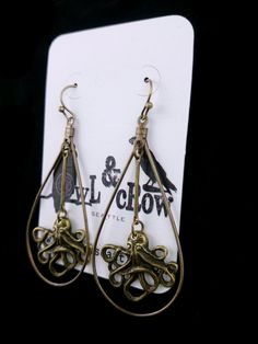 Tiny Octopus and the Giant Teardrop- Sea  Creature Jewelry- Ocean Friends-Statement Hoop Earrings - Owl and Crow Seattle E041 by owlandcrowseattle on Etsy