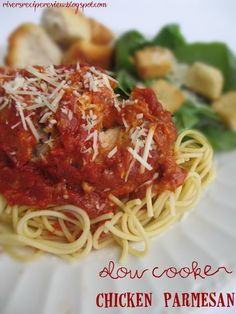Slow Cooker Chicken Parmesan. This was so easy to throw into the Crockpot and was an instant family favorite!! And it is only 4 ingredients!