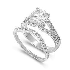 Denise's 2.5CT Pave Brilliant Cut Solitaire CZ Wedding Ring Set