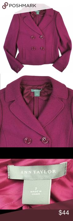 """ANN TAYLOR Pink Boiled Wool Jacket Excellent condition! This pink boiled wool jacket from Ann Taylor features a double breasted style with button closures and is partially lined. Made of a wool blend. Measures: bust: 36"""", total length: 21"""", sleeves: 24.5"""" Ann Taylor Jackets & Coats"""