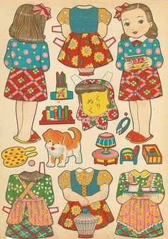 Japanese Family paper dolls / flickr.