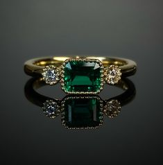 18ct yellow gold top quality emerald and diamond set 3 stone ring. Beaded edge. Made in Chichester, England. 3 Stone Rings, Wide Band Rings, Green Diamond, Diamond Art, Chichester England, 3 Stone Engagement Rings, Gold Feathers, Bespoke Jewellery, Gold Top