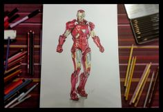 IRON MAN Time-lapse drawing by Alessandro Conti