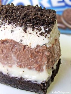 Oreo Delight with Chocolate Pudding-- OMG I want this! Maybe with fat free cream cheese, sugar free pudding, and skim milk I can...someday