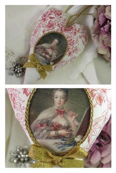Fabric heart with portrait of Madame Pompadour made of Toile de Jouy in pink creme gold trimming framed in baroque style heart hanger